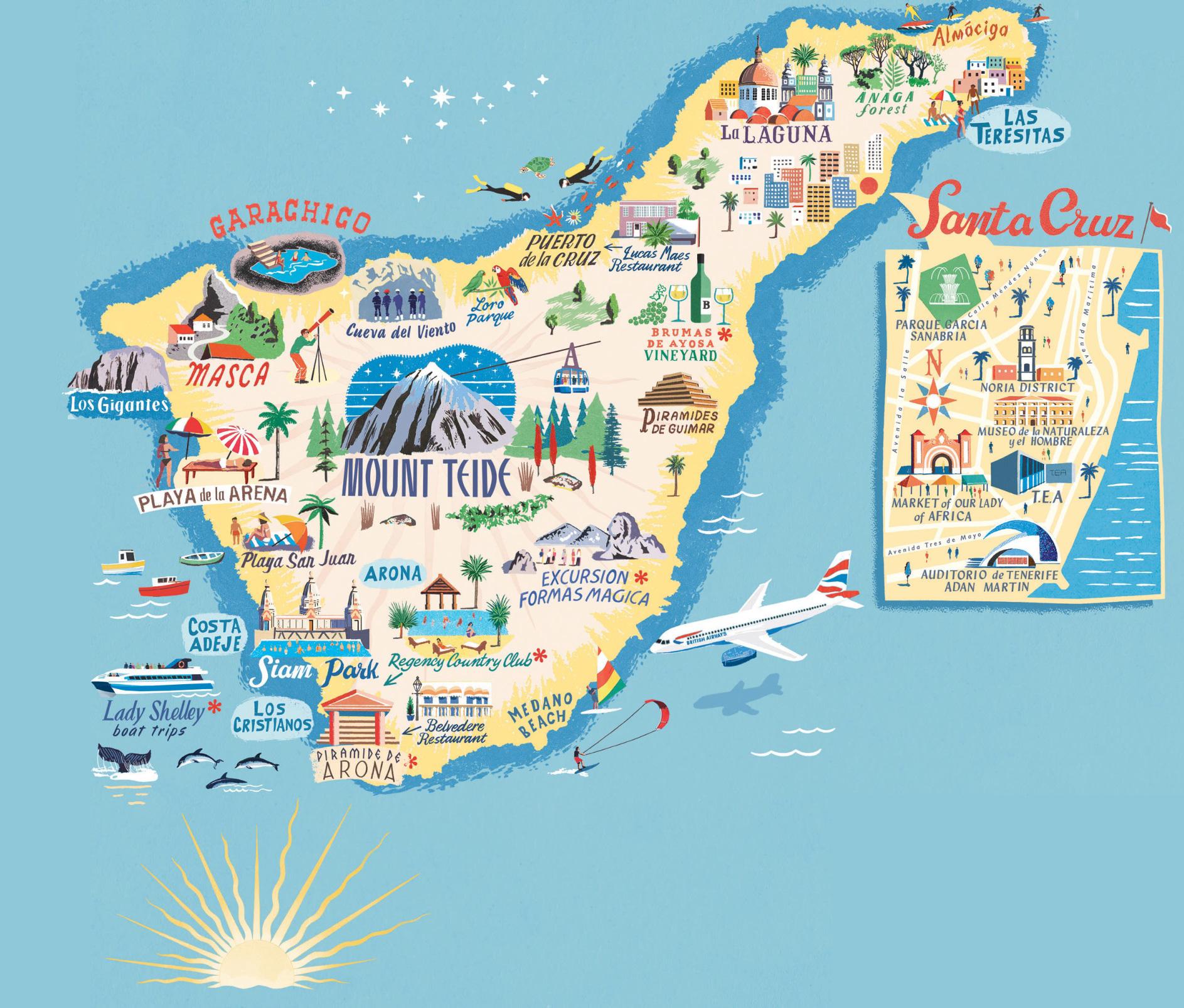 tenerife mapa Tenerife: Mapa con los mejores lugares del sur y norte de la isla tenerife mapa